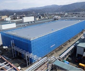 1号機と2号機が設置される工場棟(建設中)