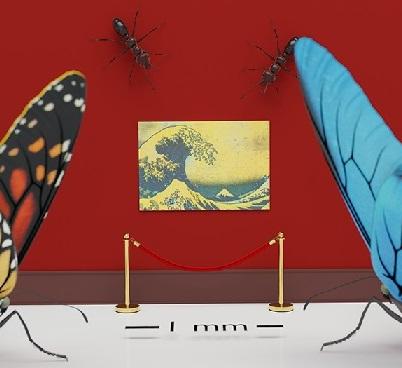 OM技法を用い高精細印刷された、1ミリの葛飾北斎「神奈川沖浪裏」