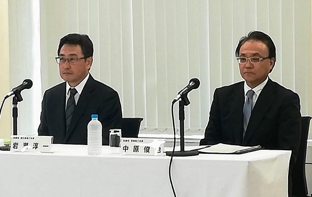 (左から)岩瀬淳一副社長、中原俊也常務