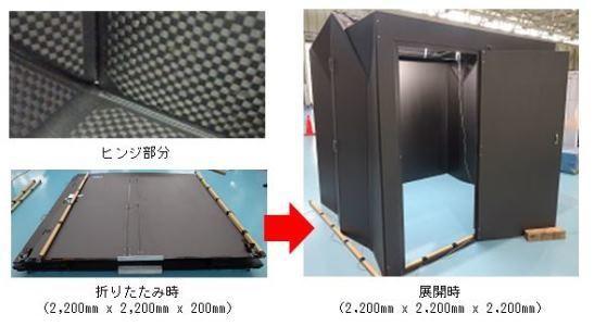 「ORIBAKO」のヒンジ部分(左上)と大型構造物の試作品