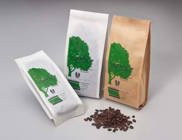 「PLANTIC」をバリア層として用いた生分解性コーヒーパウチ