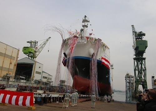 進水した世界初の液化水素運搬船