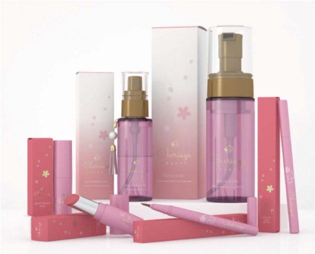 「Cheriage」ブランド。(右上から反時計回りに)洗顔フォーム、バリアミスト、ルージュ、アイライナー