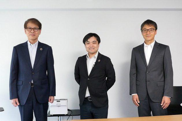 (左から)三井化学の松尾英喜副社長、エレファンテックの清水信哉社長、AMCセンター長の川本悟志氏