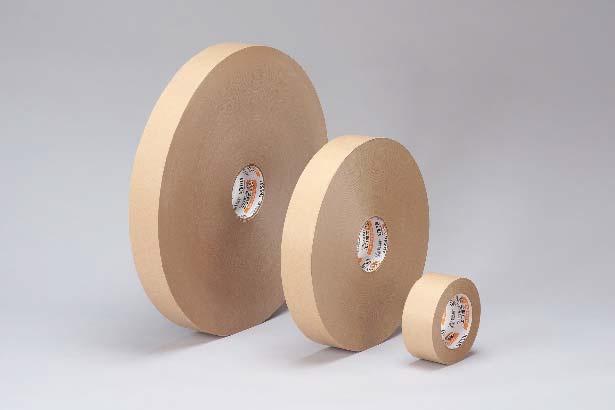 クラフトテープ従来品との比較。左から1,000m巻(新製品)、500m巻、50m巻