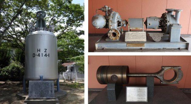 今回登録されたPE製造装置を構成する、重合機(左)、原料ナフサフィードポンプ(右上)、ガスエンジン用パワーピストン(右下)