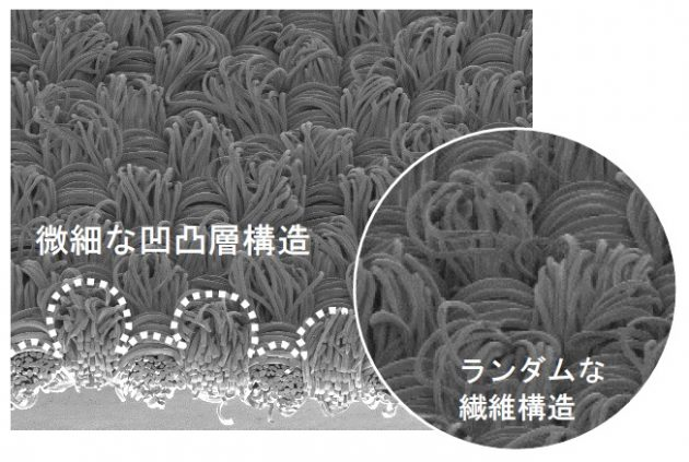 高吸水・速乾素材『ラッカン』。ランダムな繊維構造からなる微細な凹凸層構造が特長