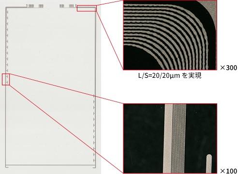 タッチパネル中の超微細スクリーン印刷例