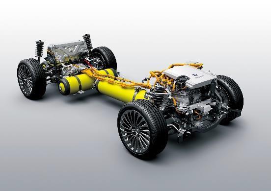 新型「MIRAI」の燃料電池ユニット(写真協力:トヨタ自動車)