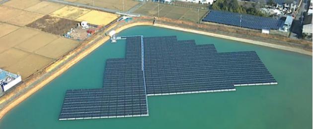 水上ソーラーの貯水池発電所