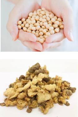 丸大豆を主原料とした植物肉「ミラクルミート」